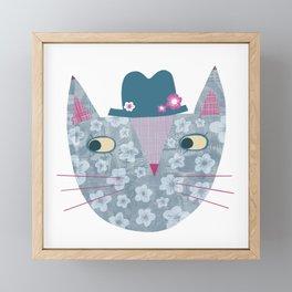 Flowery Cat in a Flowery Hat Framed Mini Art Print