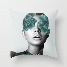 Floral Portrait (woman) Throw Pillow