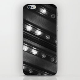 Black and White Twinkle Lights Diagonal Pattern Photograph Art Print iPhone Skin