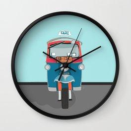 Thailand Tuk Tuk Taxi Travel Poster Wall Clock