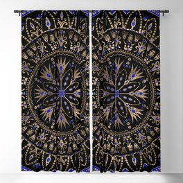 Floral Egyptian Ornament Lapis Lazuli and gold Blackout Curtain