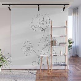 Poppies Minimal Line Art Wall Mural