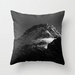 Black and white windy snowy mountain Throw Pillow