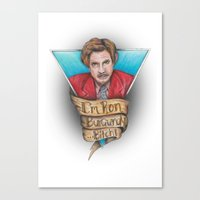 anchorman Canvas Prints featuring Anchorman by Tiffany London