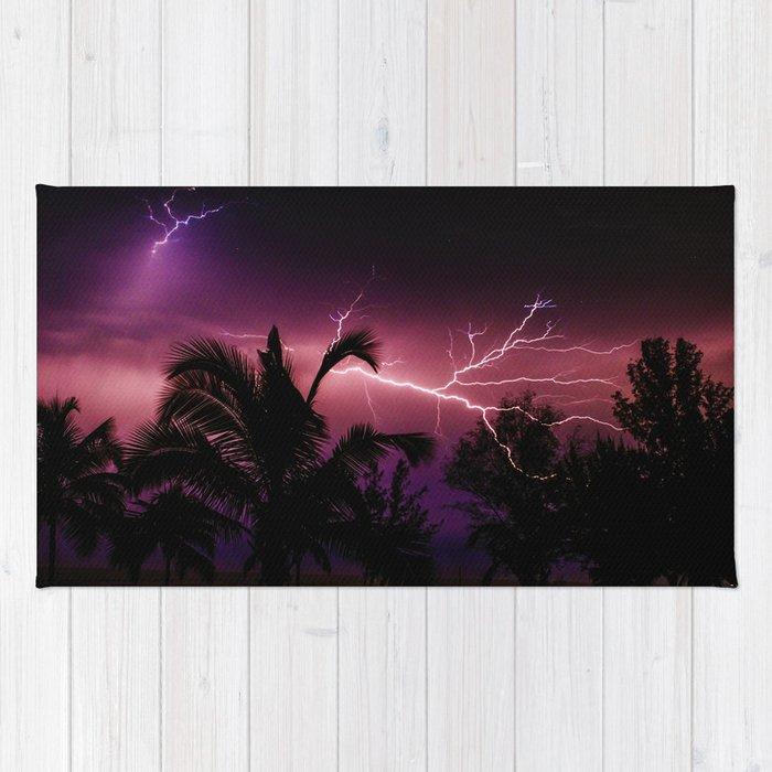 Sunset Lightening Storm (Color) Rug