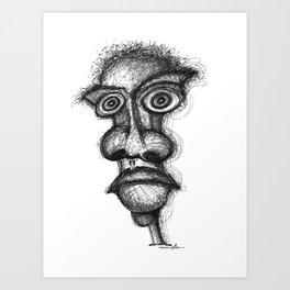 Scribbleheads_BW-Pen Art Print