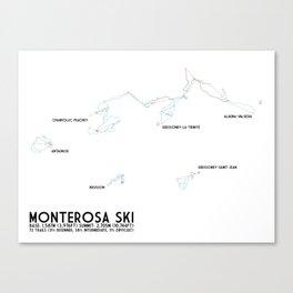 Monterosa Ski, Aosta Valley, Italy - NA Edition (Labeled) - Minimalist Trail Art Canvas Print
