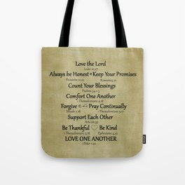 Christian Faith Family Rules w/Scripture Reference Tote Bag