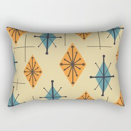 Mid Century Modern Starburst Diamonds Orange And Blue Rectangular Pillow