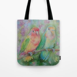 Lovebirds family Pastel colorful parrots Tropical jungle Wildlife birds painting Tote Bag