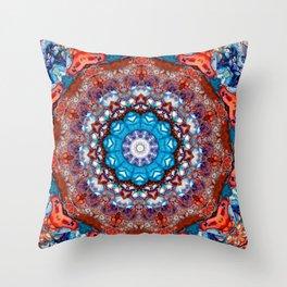 Digital Bright Colorful Red Blue Kaleidoscope Mandala Bohemian Throw Pillow