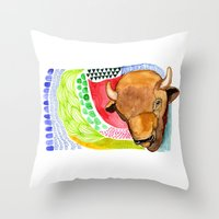 buffalo Throw Pillows featuring BUFFALO by dorc
