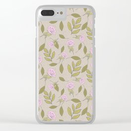 Vintage Rose Illustration // Hand Drawn Botanicals, Vintage Flowers and Leaves // Old Rose and Green Clear iPhone Case