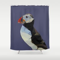 puffin Shower Curtains featuring LP Puffin by Alice Protin
