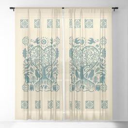 Rustic Early American Tree Of Life Woodcut Sheer Curtain