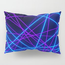 Neon Abstract Line -Blue and Purple, Black- Pillow Sham