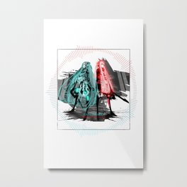 Monochrome Vocaloid Hatsune Miku Megurine Luka Metal Print