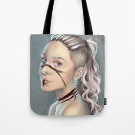 Woman with face paint Tote Bag