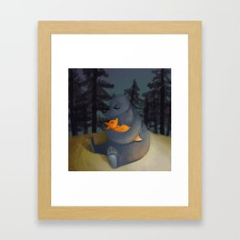 The fox and his foster mum Framed Art Print