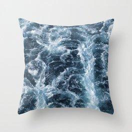 Sea Blue Wake - Pacific Ocean Throw Pillow