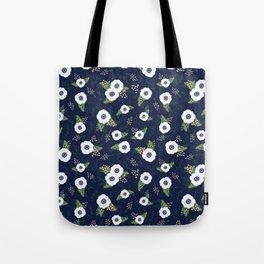 Anemone Floral Pattern Navy Blue Tote Bag