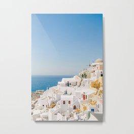 Santorini 0017: White houses in Oia, Santorini, Greece Metal Print