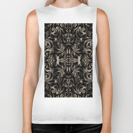 Black Gold Baroque Floral Pattern Biker Tank
