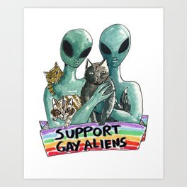 support gay aliens Art Print