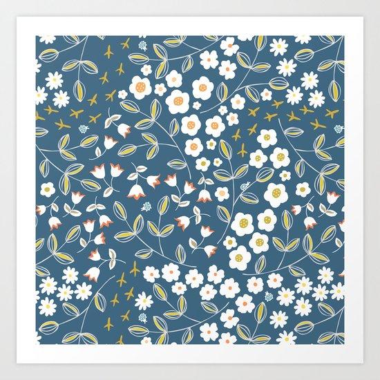 Ditsy Blue Art Print