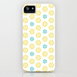 Spring Yellow Blue Flower Pattern iPhone Case