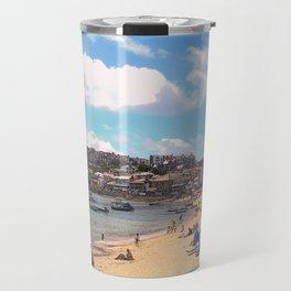 British Beach scene illustration, St Ives, English holiday resort Travel Mug