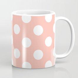Melon - pink - White Polka Dots - Pois Pattern Coffee Mug