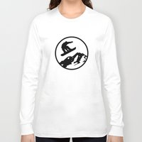 snowboarding Long Sleeve T-shirts featuring snowboarding 1 by Paul Simms