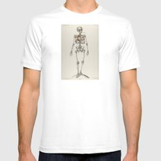 Skeletons Smoking Mens Fitted Tee White MEDIUM