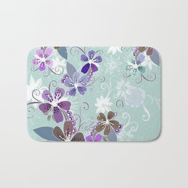Summer blossom, blue and purple Bath Mat