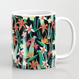 Tropical Flowers Black Coffee Mug