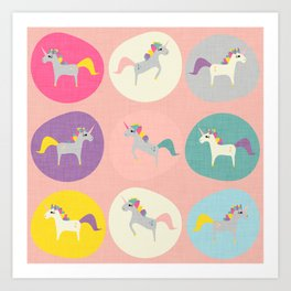 Cute Unicorn polka dots pink pastel colors and linen texture #homedecor #apparel #stationary #kids Art Print
