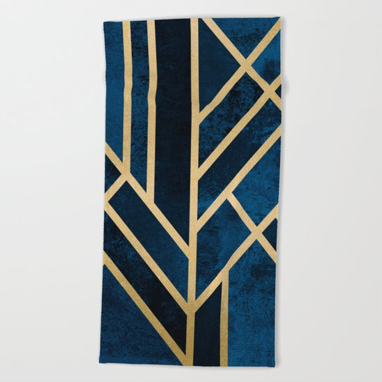 Art Deco Midnight Beach Towel