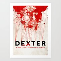 dexter Art Prints featuring DEXTER by Michael Scott Murphy