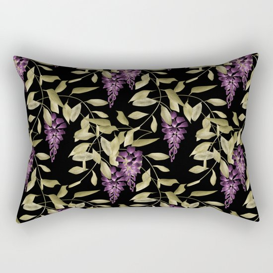 The Branches Of Wisteria . Black . Rectangular Pillow
