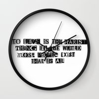 oscar wilde Wall Clocks featuring Oscar Wilde Quote by Rachel Weissman