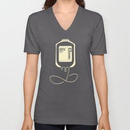 Coffee Transfusion - Black Unisex V-Neck