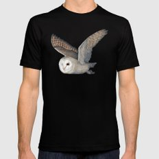 Barn Owl at Night Black Mens Fitted Tee X-LARGE
