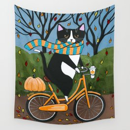 Tuxedo Cat Autumn Bicycle Ride Wall Tapestry