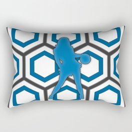 Basketball Player in Blue and White Rectangular Pillow