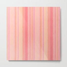 Retro Color Peach Lemon Grunge Primitive Stripe Metal Print