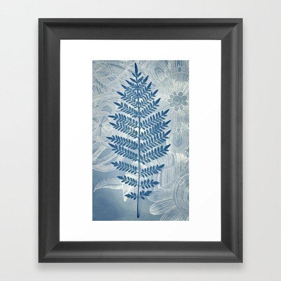 Jacaranda Leaf in Blue, Cream, Grey Framed Art Print