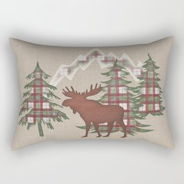Moose in the Mountains Rectangular Pillow