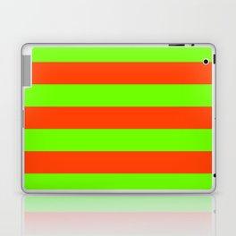 Bright Neon Green and Orange Horizontal Cabana Tent Stripes Laptop & iPad Skin