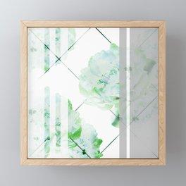 Abstract Geometric Lines Green Peonies Flowers Design Framed Mini Art Print